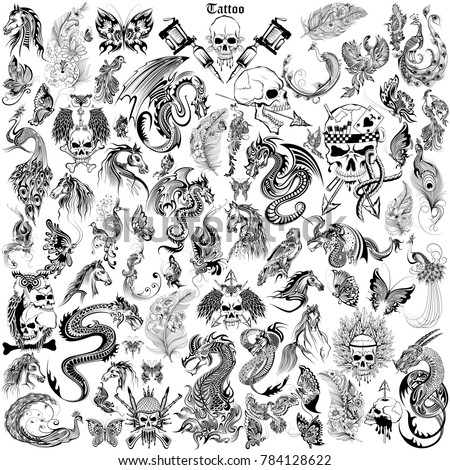 stock-vector-illustration-of-tattoo-art-design-of-skull-horse-dragon-and-flora-collection