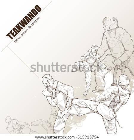 Illustration of teakwando. hand drawn. teakwando poster. Sport background.