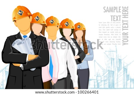 illustration of team of architect wearing hardhat on under construction site