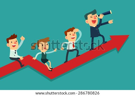 Illustration of team of businessman on arrow graph. Team leader has telescope and leading his team to success