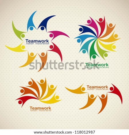 Illustration of teamwork icons, silhouettes of people in colors, vector illustration
