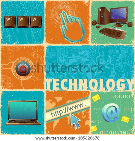 illustration of technology element with computer forming collage