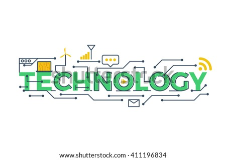 Illustration of TECHNOLOGY word in STEM - science, technology, engineering, mathematics education concept typography design with icon ornament elements