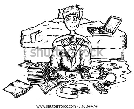 Illustration of teenager playing video games in bedroom - stock vector