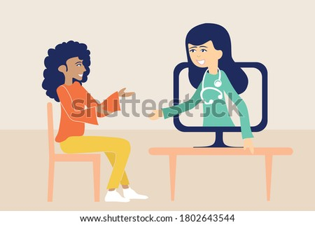 Illustration of telemedicine and teleconsultation, remote medical consultation over the internet