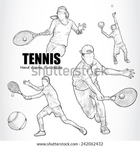 illustration of tennis hand