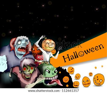 Illustration of terrible monsters in night Halloween. Vector
