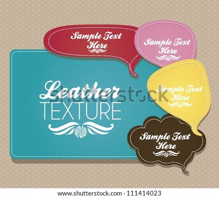 illustration of text balloons with leather texture, vector illustration