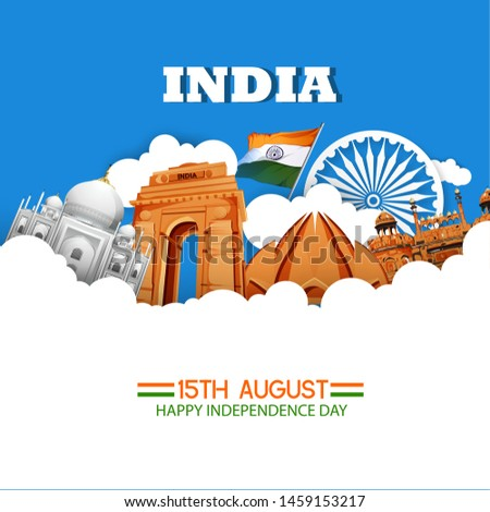 illustration of 15th August india Happy Independence Day with indian monoments