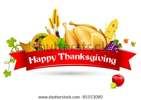 illustration of thanksgiving element with red ribbon