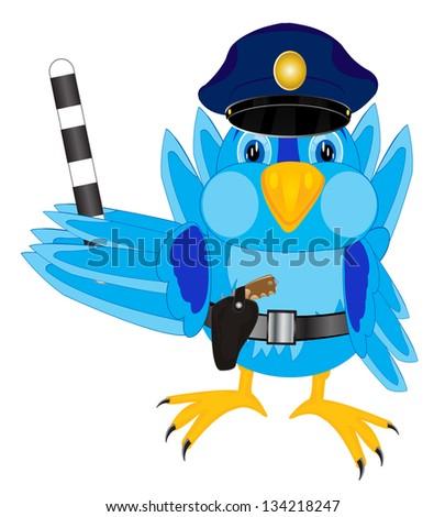 Illustration of the bird sparrow police - stock vector