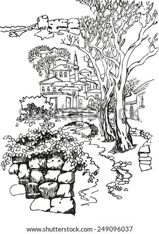 Illustration of the black and white design of the old city. Sketch, hand drawn with ink.landscape with mountains, minaret, and city by the river.