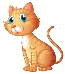 Illustration of the blue-eyed cat on a white background
