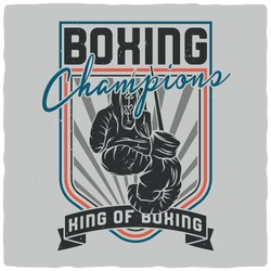 Illustration of the Boxing gloves. Vector illustration. T-shirt or poster design.