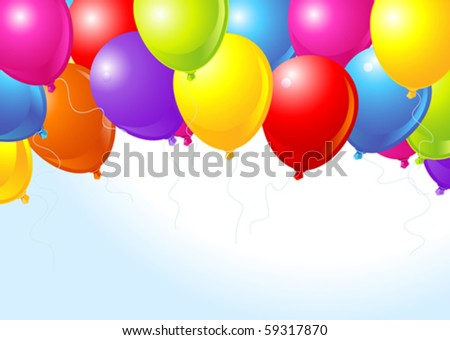 Illustration of the bunch of colorful balloons flying up