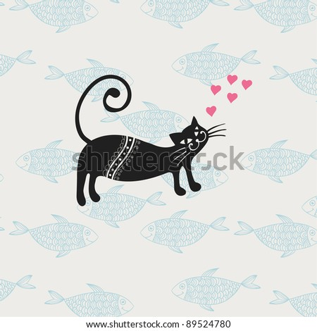 illustration of the cat with