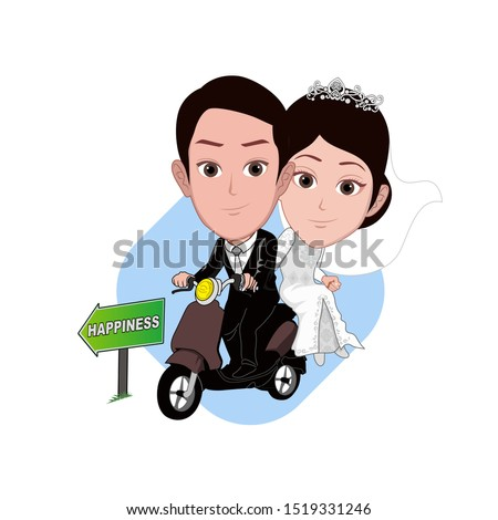 illustration of the character of a groom piggybacking a bride on a motorcycle. there is a directional board in front of him. Vector cartoons that can be used to caricature templates. isolated.