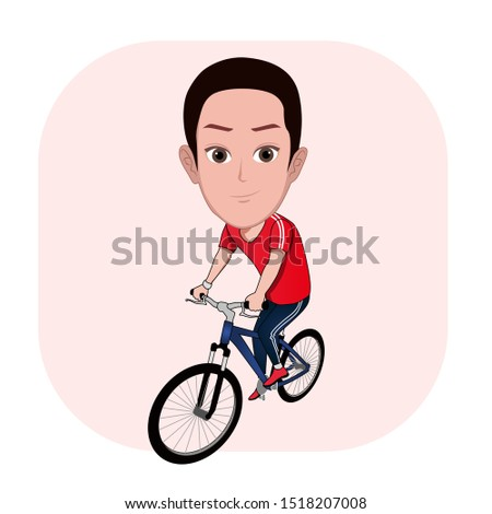 illustration of the character of a man riding a bicycle. Vector cartoons that can be used to caricature templates with plain backgrounds.