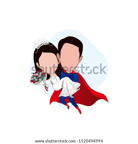 illustration of the character of a pair of brides where the man wearing a superhero costume is carrying a flying bride. Vector cartoons that can be used to caricature templates with plain backgrounds.