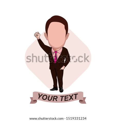 illustration of the character of an office worker posing with a brown tuxedo, raising his right hand into a fist as if celebrating a victory. Vector cartoons that can be used to caricature templates.