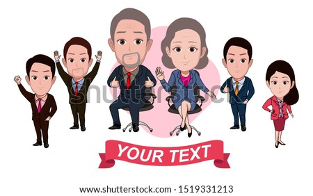 illustration of the character of the company leader and some of his coworkers or staff posing together with official service suits and tuxedo Vector cartoons that can be used to caricature templates.