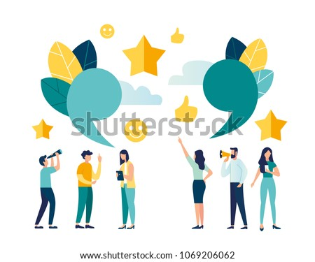 illustration of the characters. melenkie people leave online reviews about purchased products through the Internet. graphic design illustration for online store. good five star ratings vector