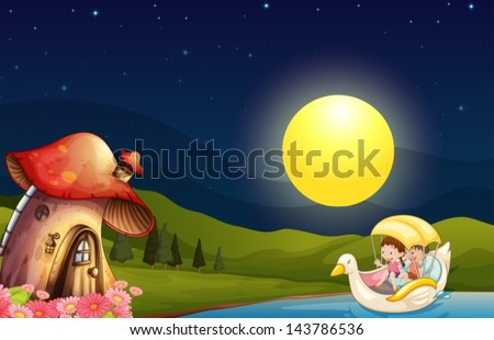 Stock Photo Illustration of the children going to the mushroom house
