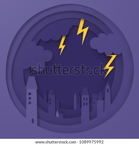 illustration of the city has overcast sky and lightning in the rainy season. dark sky with lightnings in the city. storm in city. paper cut and craft style. vector, illustration.