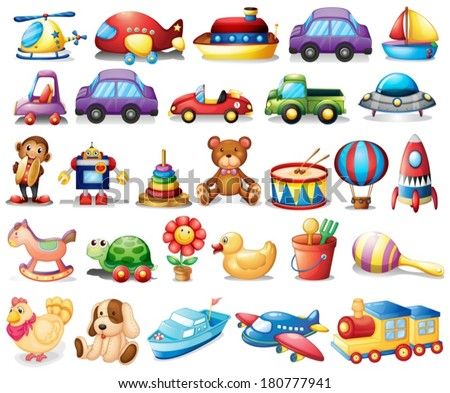 stock-vector-illustration-of-the-collection-of-toys-on-a-white-background