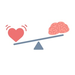 Illustration of the concept of balance between logic and emotion. Cartoon brain and heart on a scale. Simple and modern flat vector style, isolated on white background.
