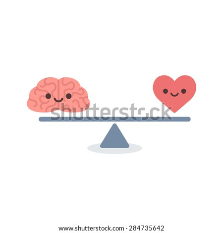 Illustration of the concept of balance between logic and emotion. Cartoon brain and heart with cute faces on a scale. Simple and modern flat vector style, isolated on white background.