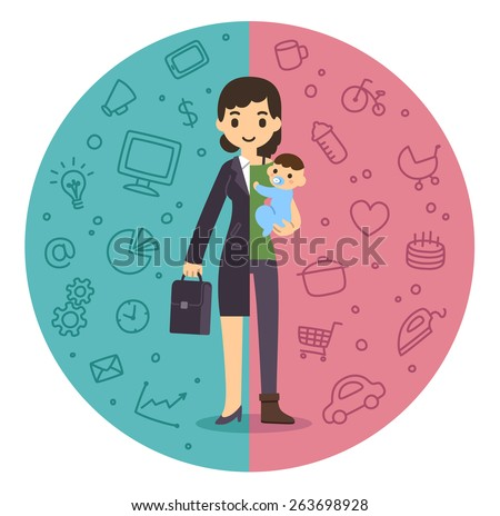 Illustration of the concept of life and work balance. Young businesswoman in suit on the left and with baby on the right. Background is divided in two thematic patterned parts.