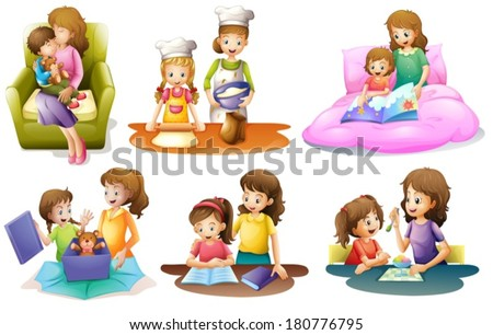 Illustration of the different activities of a mother and a child on a white background