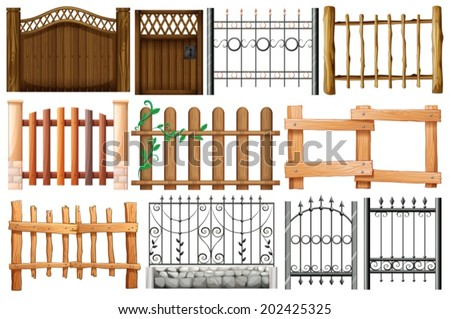 Illustration of the different designs of fences and gates on a white background