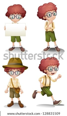 Illustration of the different moods of a young boy on a white background