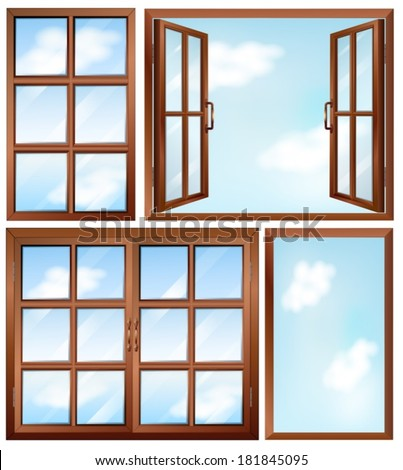 Illustration of the different window designs on a white for Window design cartoon