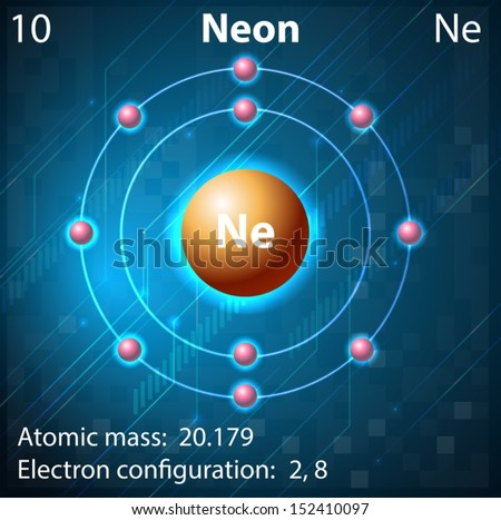 illustration of the element neon - Periodic Table Neon