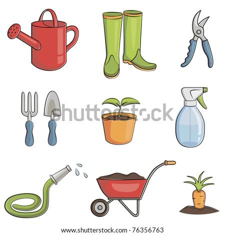 Illustration of the gardening equipment