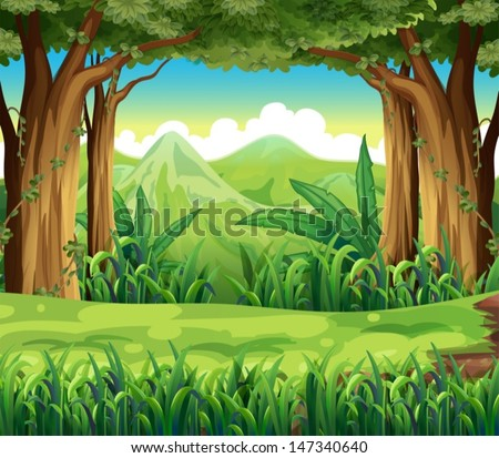 illustration of the green forest