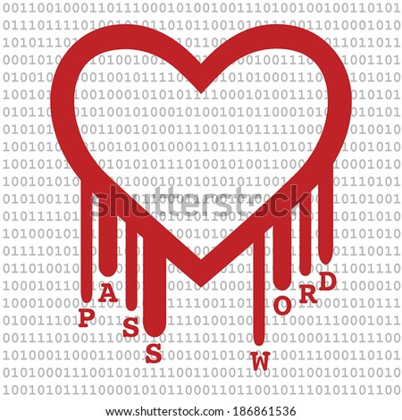 Illustration of the heartbleed bug affecting internet technology and security. Heart shape with red bleed and text password in front of binary code.