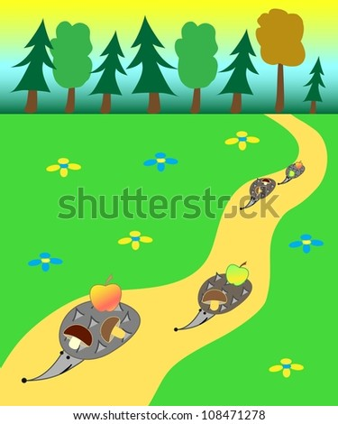 Illustration of the hedgehogs gone out a forest and carrying the found apples and mushrooms