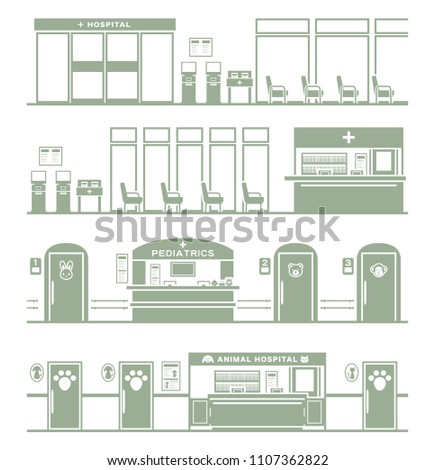 Illustration of the hospital / Silhouette