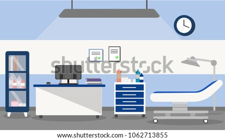 illustration of the interior of a medical office in a hospital or clinic, in a flat style. The doctor's office with a desk, medical armchair, shelf, furniture, medical lamp and other medical equipment
