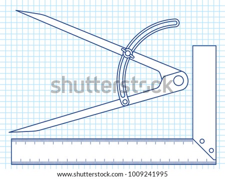 Illustration of the joiner's divider and angle tools