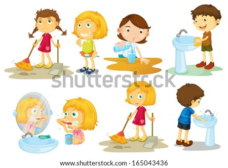 Illustration of the kids engaging in different activities on a white background