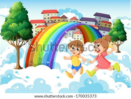 Illustration of the kids playing near the rainbow - stock vector