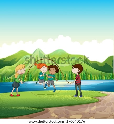 Illustration of the kids playing skipping rope at the riverbank