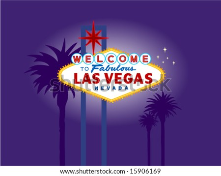 Illustration of the Las Vegas Welcome Sign at Night with Palm Trees in the Background. Palm Trees on a separate layer for easy removal.