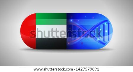 Illustration of the national pharmaceuticals of United Arab Emirates. Drug production in United Arab Emirates. National flag of United Arab Emirates on capsule with gene