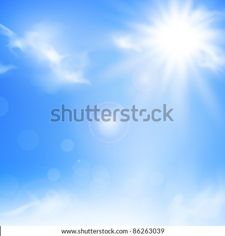 Illustration of the nature background with blue sky and sun